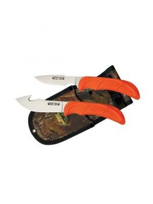 Jagdmesserset cut & skin plastic orange mit einer 6 und 10 cm langen Klinge aus 420J2 Edelstahl inkl. Nylon-Kombi-Scheide.
